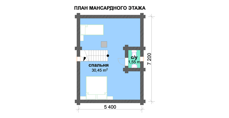 Проект бани 015 с верандой (97 м.кв.)